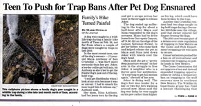 ABQ Journal - Teen to push for trap ban after pet dog ensnared