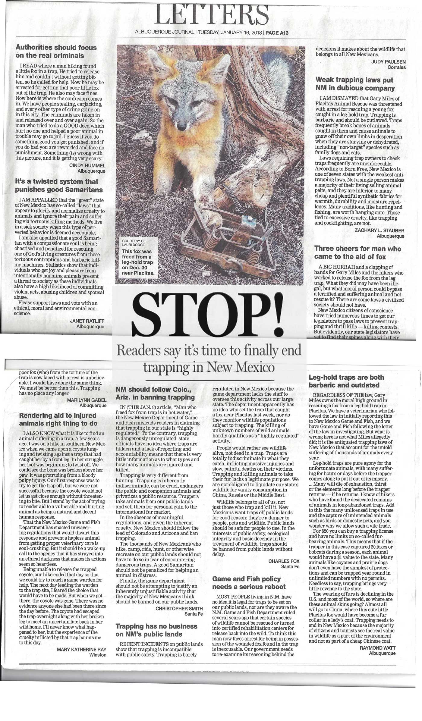 STOP Trapping in New Mexico - Albuquerque Journal Letters to the Editor - January 16, 2018