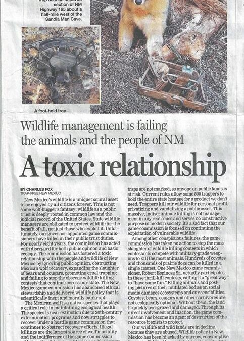 A Toxic Relationship: Wildlife management is failing the animals and the people of NM