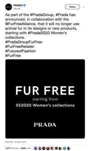 Prada to go fur-free in 2020